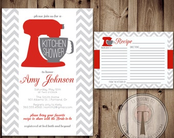 kitchen party invitation cards design. Kitchen Shower Invitation and Recipe Card  shower bridal wedding showering