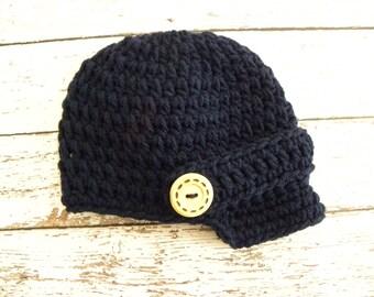 POPULAR newsboy hat made in dark navy blue. Newborn baby boy photo prop newsboy beanie hat. Newsboy hat photo prop.