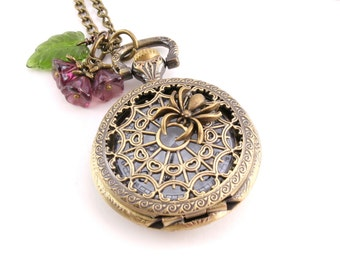 Victorian Style Watch Pendant, Spider Web Pocket Watch Necklace, Nature InspiredTimepiece Necklace