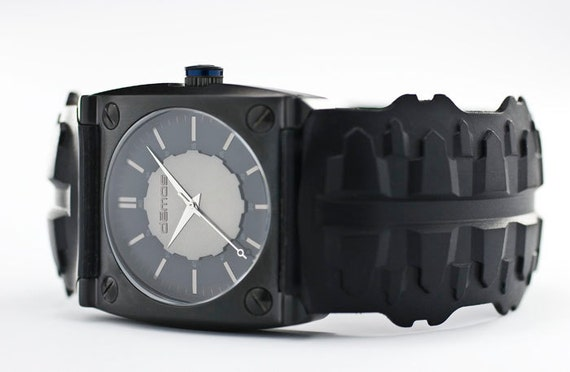 Sons of Anarchy / Mayans MC style - Motorcycle TREAD wristwatch - Tread w/ Matte Black colored case