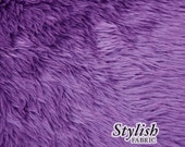 Purple Pile Luxury Shag Faux Fur Fabric by the yard for costume, throws, home furnishing, photo props - 1 Yard Style 5009