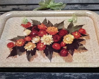Vintage Flowered Metal Tray, Magnetic Message Board