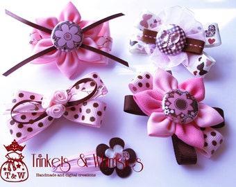 Pinks and Chocolates Hair-clip Set