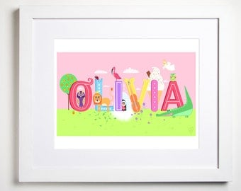 Illustrated Name Print- personalised for you.