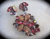 Coro Pink Easter Egg Extravaganza Brooch and Earrings
