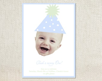 First birthday party hat face birthday party invitations
