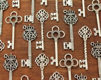 150 Large Skeleton Key Collection Antiqued Silver Keys Of April