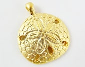 Sand Dollar Pendant Charm - 22k Matte Gold Plated - 1PC
