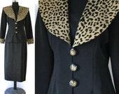 Vintage Dress suit set 1980s Leopard Animal print 2 piece outfit Black Suit Med Large Leopard dress Skirt Blazer Jacket EPSTEAM Black