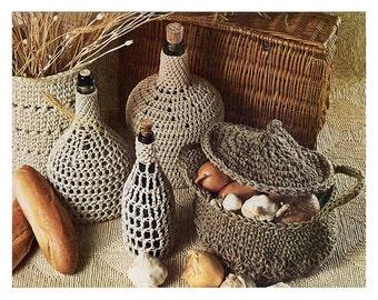 Vintage Crochet Pattern - Basket Wine Bottle Jug slip Cover Sculpture - PDF Instant Download - Digital Pattern - Veggie Sac Basket Bowl