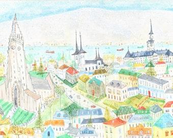 REYKJAVIK ART, HALLGRIMS Church, Iceland Houses Print, Hallgrimskirkja, Scandinavian, Signed Limited Edition, Watercolor Painting, Winter