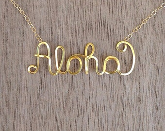Aloha necklace gold filled