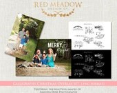 18 Calligraphy Christmas Overlays -   Holiday Photo Overlays - .PNG - INSTANT download