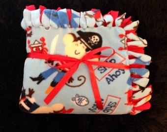 "Pirate Monkey Fleece Tie Blanket by Rainbow Freckles 56"" x 47"" (Ready to Ship)"