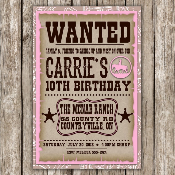 Items similar to Cowgirl Wanted Invitation Country Western – Wanted Invitation