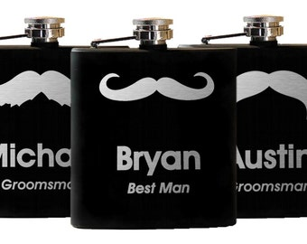 8 Personalized Flasks, Hipster Groomsmen Gifts - Custom Engraved Mustache - Groomsman Best Man Gift, Hipster