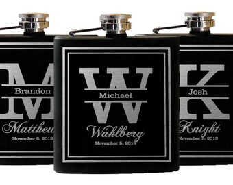 Groomsmen Flasks, Personalized Gifts, 11 Custom Engraved Flasks, Groomsmen Wedding Favors, Set of 11 Flasks