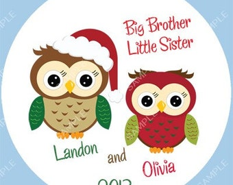Brother Sister Sibling Ornament Christmas Owls Personalized for you Snowflake Christmas Ornament