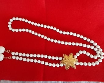 Vintage Sarah Cov. Snow White Long Bead Necklace With Brass Flower....315
