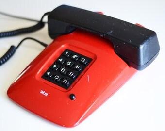 Vintage red phone Iskra ETA 85 - Retro Yugoslavian Rotary Telephone