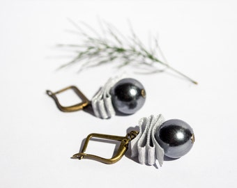 In the Pines - Minimal Grey Ribbon & Beads Earrings