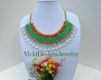 Jade Green Mint and Coral Orange Layered Teardrop Bib Statement Necklace