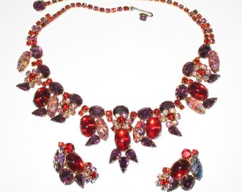 Hattie Carnegie Jewelry Set, Designer Mid Century Parure, 1950s Set, High Fashion Rhinestone Necklace and Clip Earrings, 1950s Jewelry Set