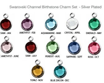 60 Pcs Birthstone Charms Swarovski, Bezel set Crystal Birthstone charms,  Sterling Silver Plated, 5 of each month, 6mm Stone - CC6S-SET60