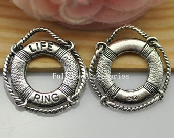20pcs Antique Silver Life Ring Charm Pendant - Victorian Vintage Style Life Buoy Charm, Life Saver Charms