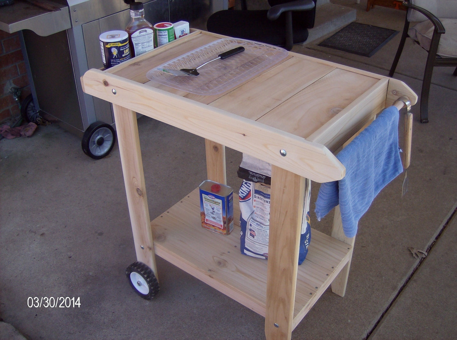 Cedar Bbq Cart Prep Table New Handcrafted