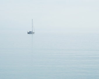Solitude, peace, quiet, ocean photography, sail boat, fog, blue, grey