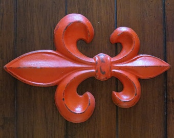 Fleur de Lis Sign / Fire (Reddish) Orange or Pick Color / Cast Iron Shabby Chic Wall Hanging / Paris Apartment / French Country Home