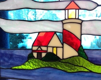 Hand Crafted Stained Glass Nautical Lighthouse Panel