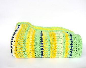 Crochet Afghan - Vintage Afghan - Throw Blanket - Crochet Blanket - Housewarming Gift - Retro Decor - Dorm Decor - Green Blue Yellow