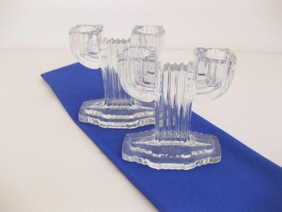 Vintage Glass Art Deco Candle Holder: Depression Glass Art Deco Glass Candle Holders By FreeLiving