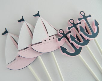 12 Light Pink Nautical Cupcake Toppers, Cupcake Toppers, Sailboat Cupcake Toppers, Anchor Cupcake Toppers