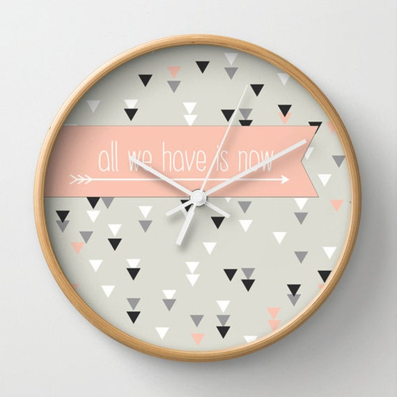 Triangle geometric wall clock home decor ornament decoration housewares hipster modern triangle design arrows  black white pink pillow quote