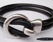 Black Leather Wrap Bracelet - Double Strand 5mm Licorice Leather, Antique Silver Hook Clasp, Leather Cuff Bracelet