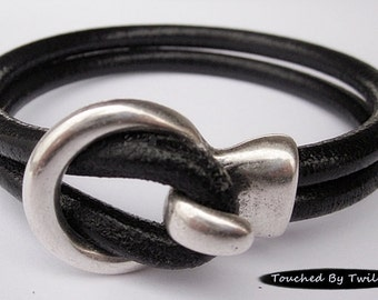Black Leather Wrap Bracelet - Double Strand 5mm Licorice Leather, Antique Silver Hook Clasp, Leather Cuff Bracelet
