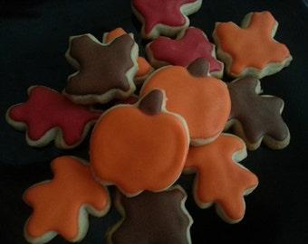 Mini Fall Leaf & Pumpkin Cookies (3 dozen)