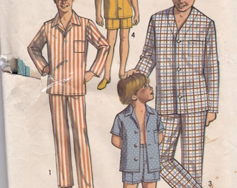 Simplicity 8860 Vintage Pattern Boys Pajamas In 2 Lengths Size 14