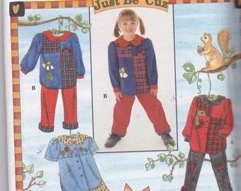 Simplicity 7277 Vintage Pattern Girls Top in 2 Variations, Pants, Shorts 5,6,7,8 UNCUT