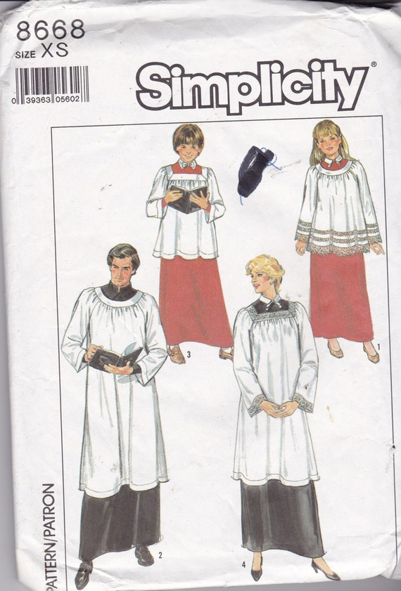 Simplicity 8668 Vintage Pattern Choir Outfit or Costume  SIze Xtra Small