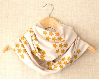 Infinity Scarf, Gold Star Design, Cream Jersey Circle Scarf, Hand Printed Cowl, Modern, Screen Printed