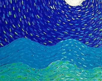 Original Painting Post Impression Painting Acrylic Textured Blue Green