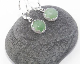 Handmade .925 Sterling Silver Stardust Natural Aventurine Stones Dangle Earrings