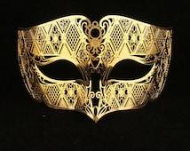 Gold Male Masquerade Mask Laser Cut Metal Masks for Men