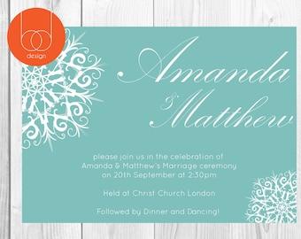 Snowflake Wedding Invitation Digital