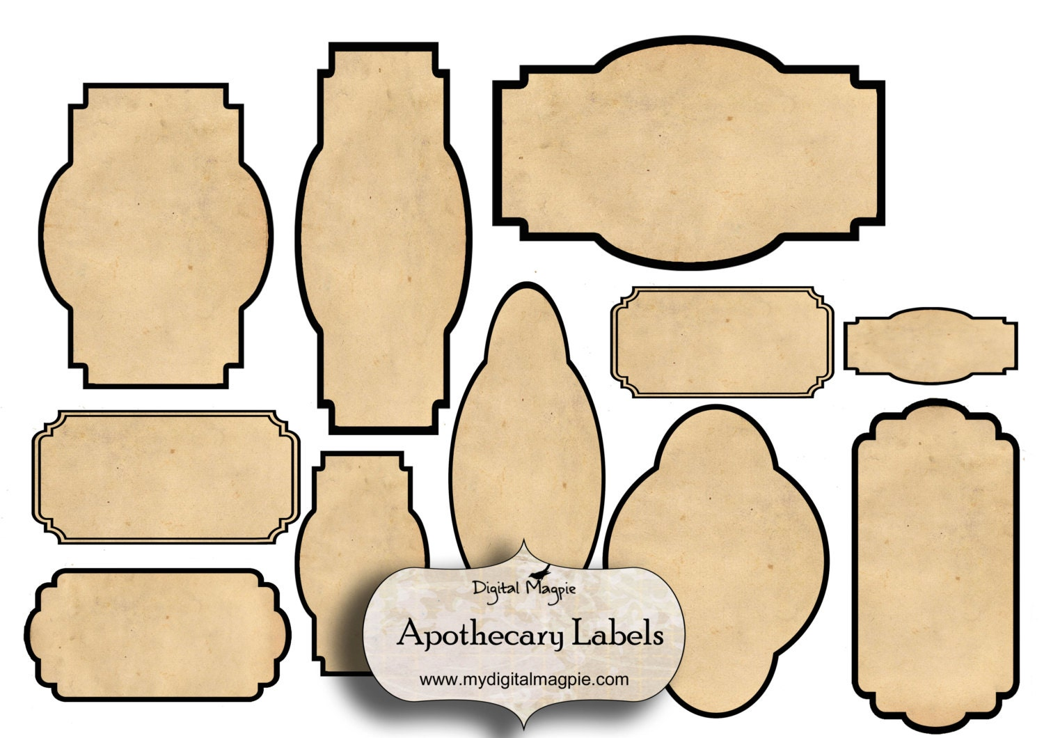Digital collage sheet blank apothecary labels antique for Labelblank templates