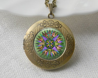 Compass Locket Necklace Art Photo Print Jewelry Locket Pendant Gift For Her (030)